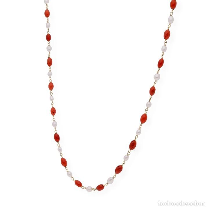 Joyeria: Collar de oro de ley con perlas akoya de Japón y coral natural irregular - Foto 3 - 183185686
