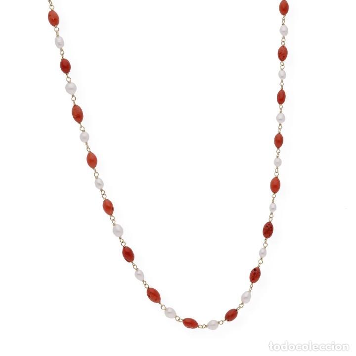 Joyeria: Collar de oro de ley con perlas akoya de Japón y coral natural irregular - Foto 4 - 183185686