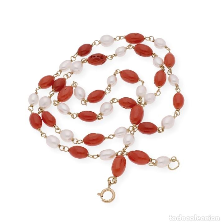 Joyeria: Collar de oro de ley con perlas akoya de Japón y coral natural irregular - Foto 6 - 183185686