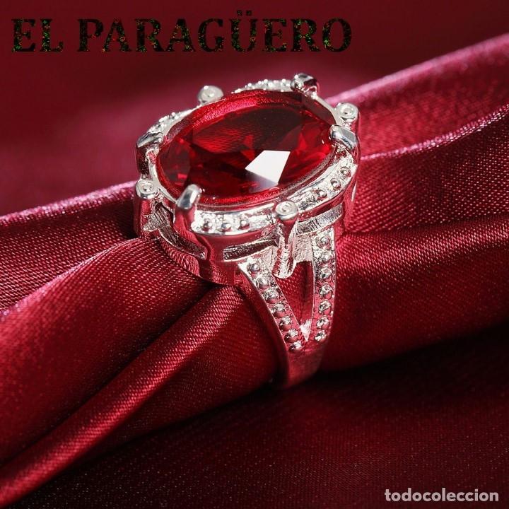 SORTIJA VINTAGE CON PRECIOSO RUBI ES DE ORO BLANCO DE 18 KILATES LAMINADO PESA 35 GR TALLA 7 - N591 (Joyería - Anillos Antiguos)