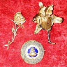 Joyeria: LOTE DE 3 BROCHES DE DAMA. PLATA Y METAL ESMALTADO. ESPAÑA. SIGLOS XIX-XX. Lote 183403383