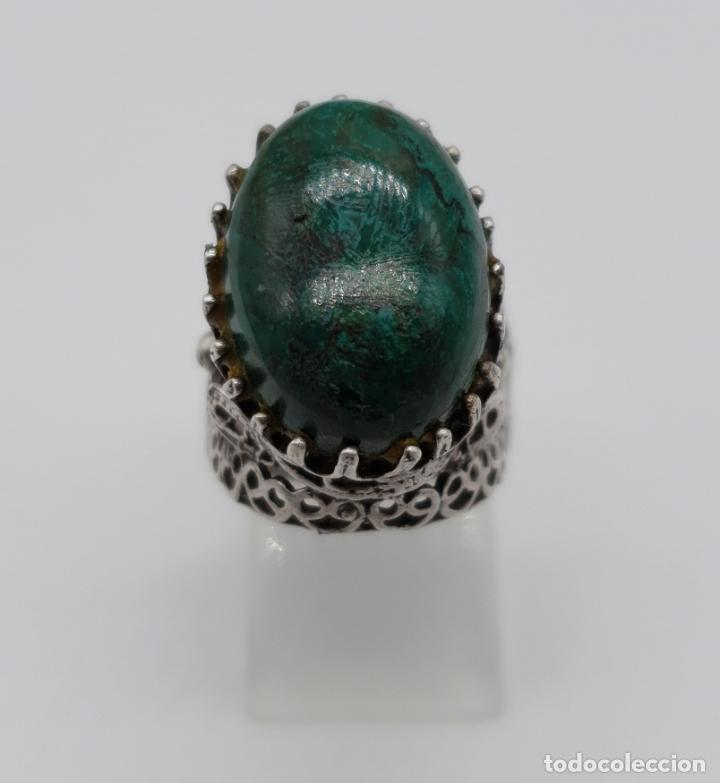 Joyeria: Espectacular anillo antiguo de estilo rococó en filigrana de plata de ley y gran cabujon de criscola - Foto 4 - 183517855