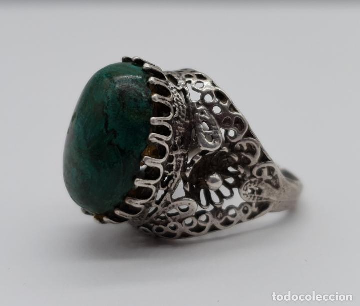 Joyeria: Espectacular anillo antiguo de estilo rococó en filigrana de plata de ley y gran cabujon de criscola - Foto 5 - 183517855
