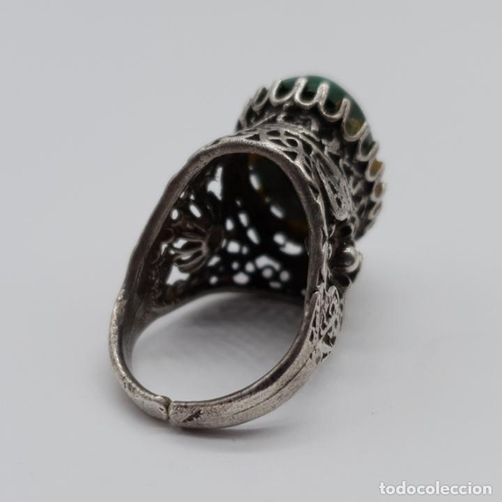Joyeria: Espectacular anillo antiguo de estilo rococó en filigrana de plata de ley y gran cabujon de criscola - Foto 6 - 183517855