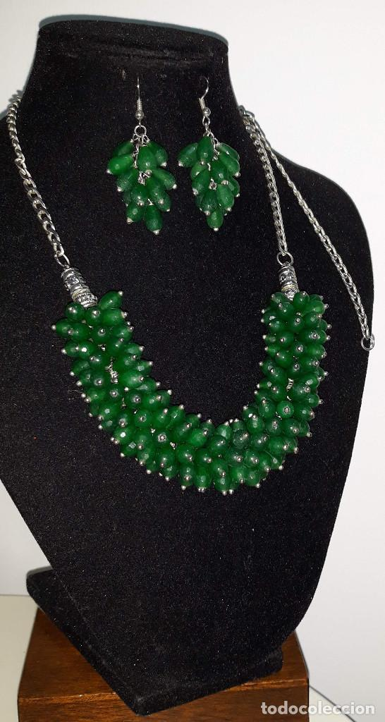 Joyeria: Collar de Perillas de Jade Verde y Pendientes - Foto 2 - 183770481
