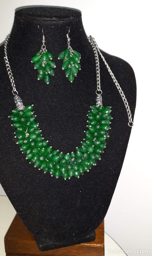 Joyeria: Collar de Perillas de Jade Verde y Pendientes - Foto 3 - 183770481