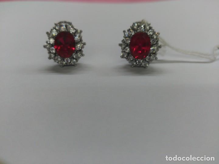 Joyeria: Pendientes plata y piedra roja - Foto 2 - 183779260