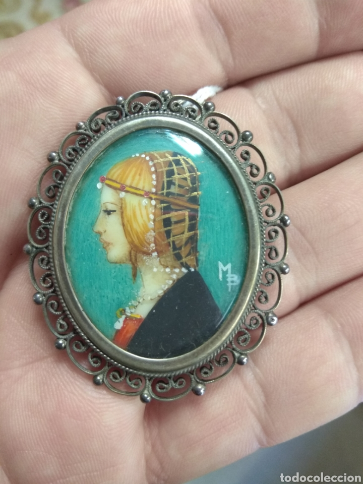 Joyeria: Precioso Broche - Camafeo de Plata - Pintura Dama de Perfil - - Foto 2 - 183987630