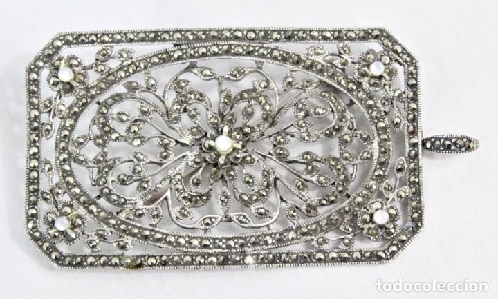 Joyeria: Maravilloso broche de plata, marcasitas, madreperla. Estilo abarrocado, broche y colgante a su vez - Foto 2 - 183997822