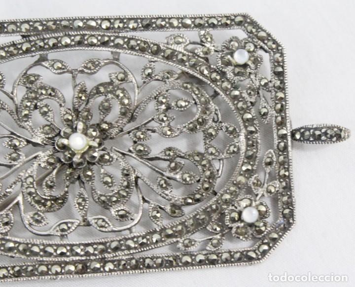 Joyeria: Maravilloso broche de plata, marcasitas, madreperla. Estilo abarrocado, broche y colgante a su vez - Foto 3 - 183997822