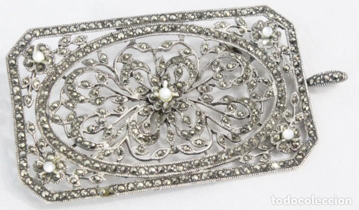 Joyeria: Maravilloso broche de plata, marcasitas, madreperla. Estilo abarrocado, broche y colgante a su vez - Foto 4 - 183997822