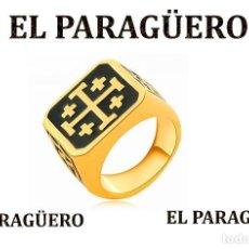 Joyeria: SELLO TEMPLARIO VINTAGE DE ORO AMARILLO DE 18 KILATES LAMINADO TALLA 12 PESA 12 GRA-Nº783. Lote 184055987