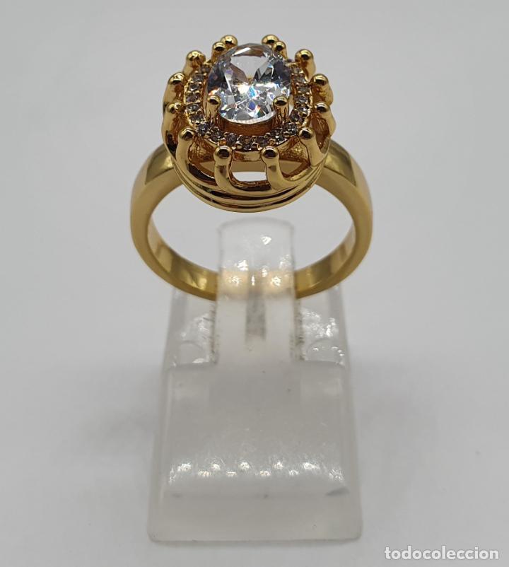 Joyeria: Precioso anillo vintage chapado en oro de 18k, con circonitas talla brillante y talla oval engarzado - Foto 3 - 184225956