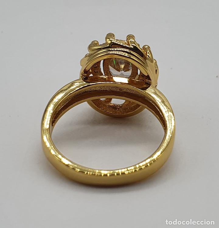 Joyeria: Precioso anillo vintage chapado en oro de 18k, con circonitas talla brillante y talla oval engarzado - Foto 6 - 184225956
