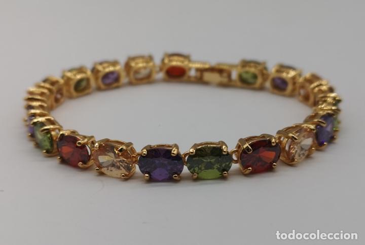 Joyeria: Elegante pulsera chapada en oro de 18k, y piedras semipreciosas creadas talla oval engarzadas . - Foto 2 - 199248412