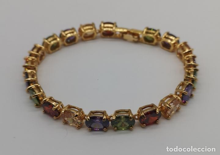 Joyeria: Elegante pulsera chapada en oro de 18k, y piedras semipreciosas creadas talla oval engarzadas . - Foto 3 - 199248412