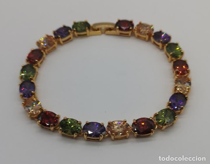 Joyeria: Elegante pulsera chapada en oro de 18k, y piedras semipreciosas creadas talla oval engarzadas . - Foto 4 - 199248412