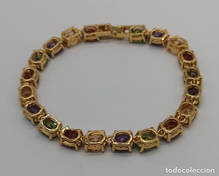 Joyeria: Elegante pulsera chapada en oro de 18k, y piedras semipreciosas creadas talla oval engarzadas . - Foto 5 - 199248412