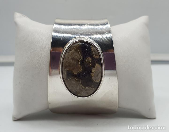 Joyeria: Magnífico brazalete vintage de diseño en plata de ley contrastada con gran cabujon de ágata gris . - Foto 9 - 184799228