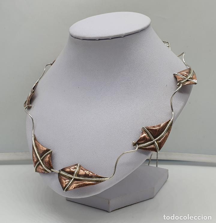 Joyeria: Preciosa gargantilla antigua de diseño con forma de cometas en plata de ley y cobre . - Foto 2 - 184804302