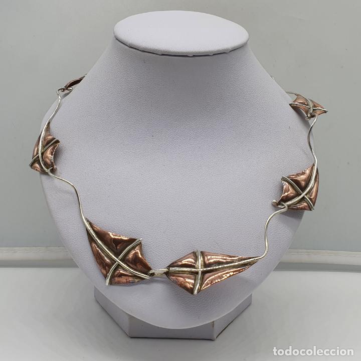 Joyeria: Preciosa gargantilla antigua de diseño con forma de cometas en plata de ley y cobre . - Foto 3 - 184804302