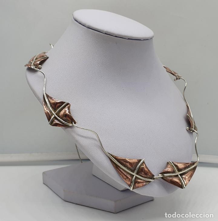 Joyeria: Preciosa gargantilla antigua de diseño con forma de cometas en plata de ley y cobre . - Foto 4 - 184804302