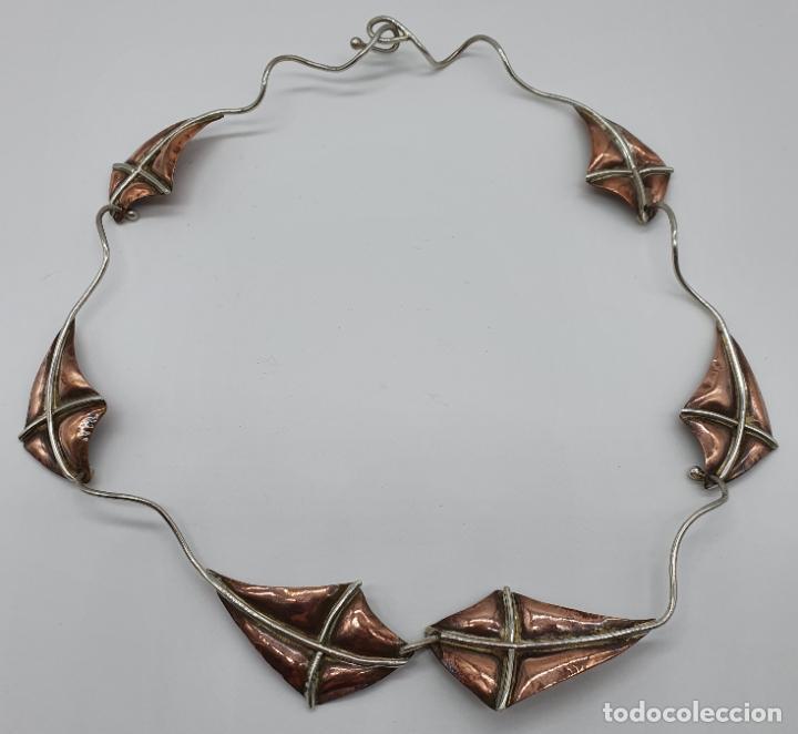 Joyeria: Preciosa gargantilla antigua de diseño con forma de cometas en plata de ley y cobre . - Foto 5 - 184804302