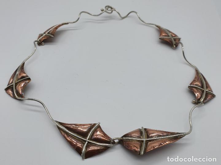 Joyeria: Preciosa gargantilla antigua de diseño con forma de cometas en plata de ley y cobre . - Foto 6 - 184804302