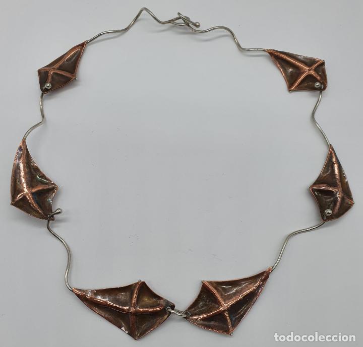 Joyeria: Preciosa gargantilla antigua de diseño con forma de cometas en plata de ley y cobre . - Foto 7 - 184804302