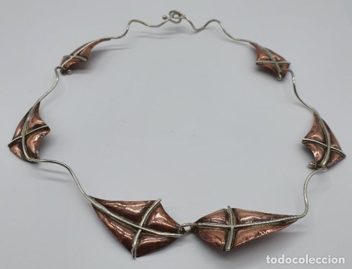 Joyeria: Preciosa gargantilla antigua de diseño con forma de cometas en plata de ley y cobre . - Foto 8 - 184804302