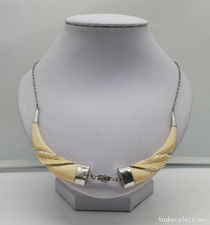 Joyeria: Bella gargantilla antigua modernista en plata de ley y marfil tallado a mano . - Foto 3 - 184833467