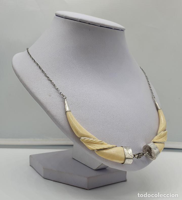 Joyeria: Bella gargantilla antigua modernista en plata de ley y marfil tallado a mano . - Foto 4 - 184833467