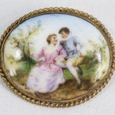 Joyeria: BROCHE EN PORCELANA DE LIMOGES.. Lote 186378962