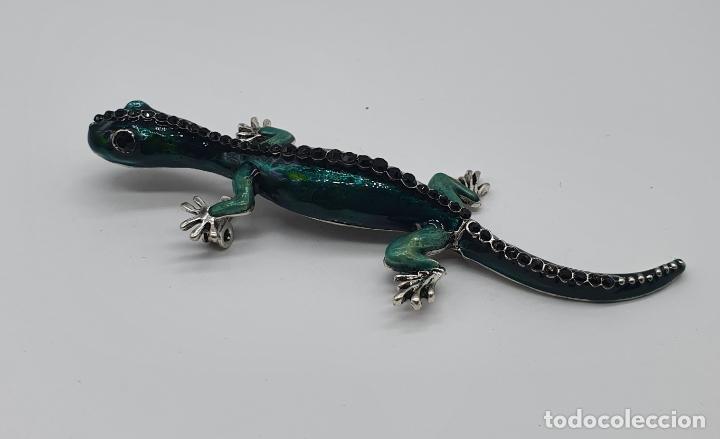 Joyeria: Magnífico y original broche de lagartija articulada con acabado en plata, esmaltes y pedrería . - Foto 2 - 187483578
