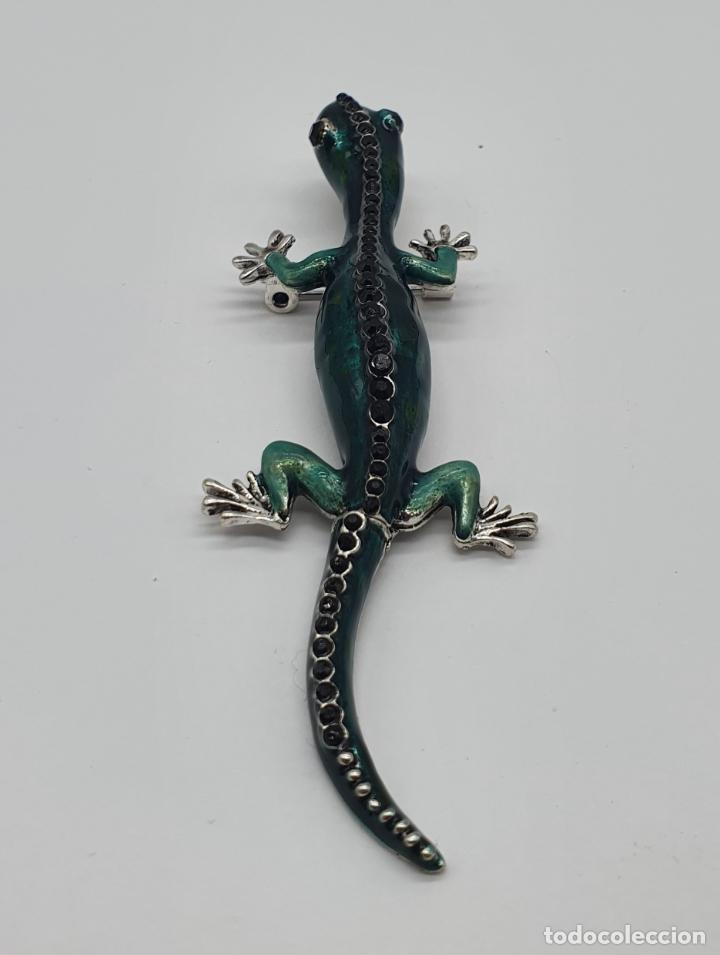 Joyeria: Magnífico y original broche de lagartija articulada con acabado en plata, esmaltes y pedrería . - Foto 3 - 187483578
