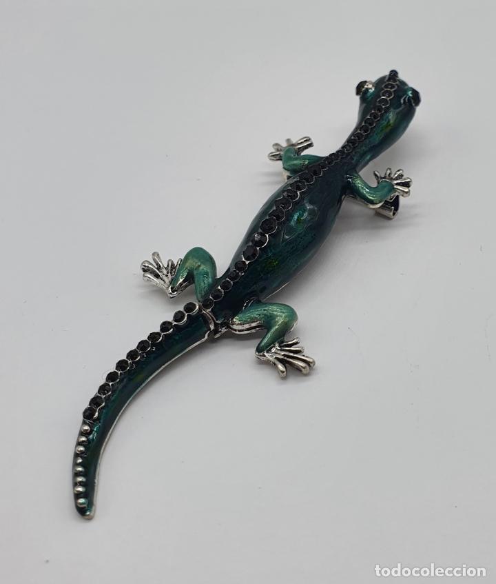 Joyeria: Magnífico y original broche de lagartija articulada con acabado en plata, esmaltes y pedrería . - Foto 4 - 187483578