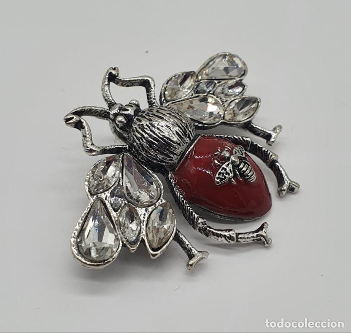 Joyeria: Precioso broche colgante de insecto diseño tipo art decó, acabados en plata, esmalte y circonitas . - Foto 2 - 187483922