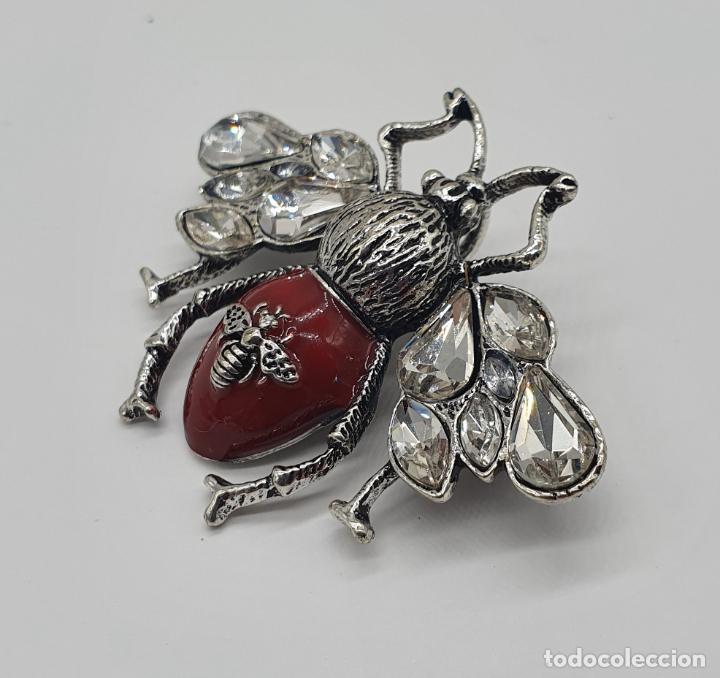 Joyeria: Precioso broche colgante de insecto diseño tipo art decó, acabados en plata, esmalte y circonitas . - Foto 4 - 187483922