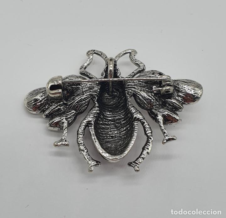 Joyeria: Precioso broche colgante de insecto diseño tipo art decó, acabados en plata, esmalte y circonitas . - Foto 5 - 187483922