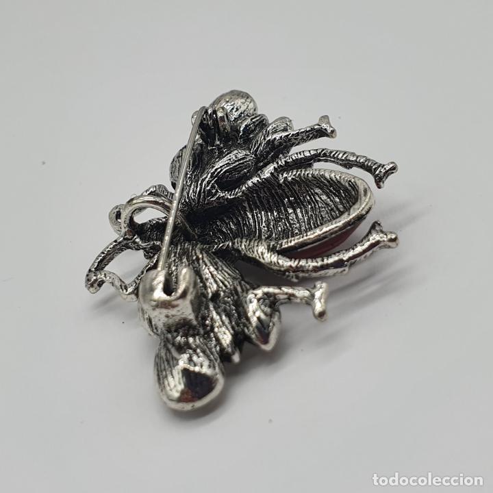 Joyeria: Precioso broche colgante de insecto diseño tipo art decó, acabados en plata, esmalte y circonitas . - Foto 6 - 187483922