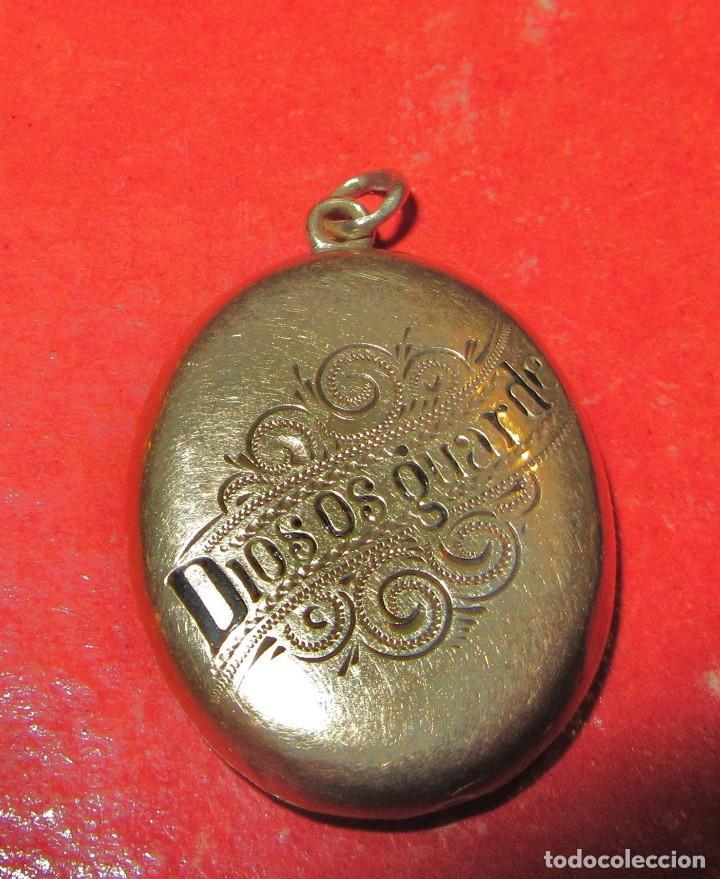 Joyeria: COLGANTE, DIOS ME GUARDE, ANTIGUO, DE ORO. GUARDAPELO - Foto 2 - 187581908