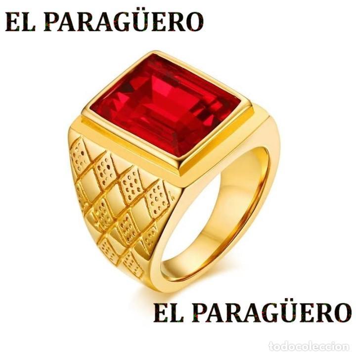 SORTIJA VINTAGE DE ORO AMARILLO DE 18 KILATES LAMINADO CON RUBI ROJO SANGRE TALLA 7 PESA 15 GR-N872 (Joyería - Anillos Antiguos)