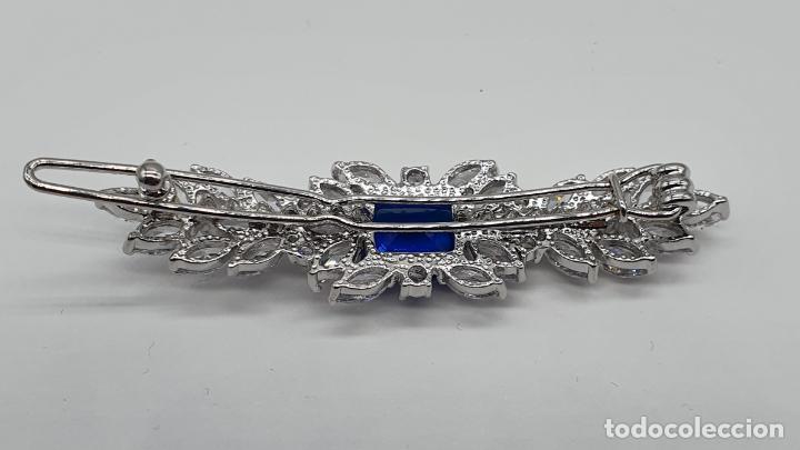 Joyeria: Preciosa horquilla de novia chapada en oro blanco de 18k, zafiro creado y circonitas talla marqués . - Foto 7 - 189218120