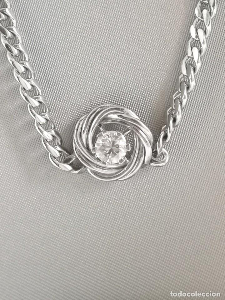 Joyeria: Conjunto Gargantilla y Pendientes Vintage Oro Blanco 18k y Diamantes - Foto 2 - 168617928