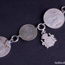 Joyeria: PULSERA 2 PESETAS PLATA. ALFONSO XII-XIII. Lote 190469895
