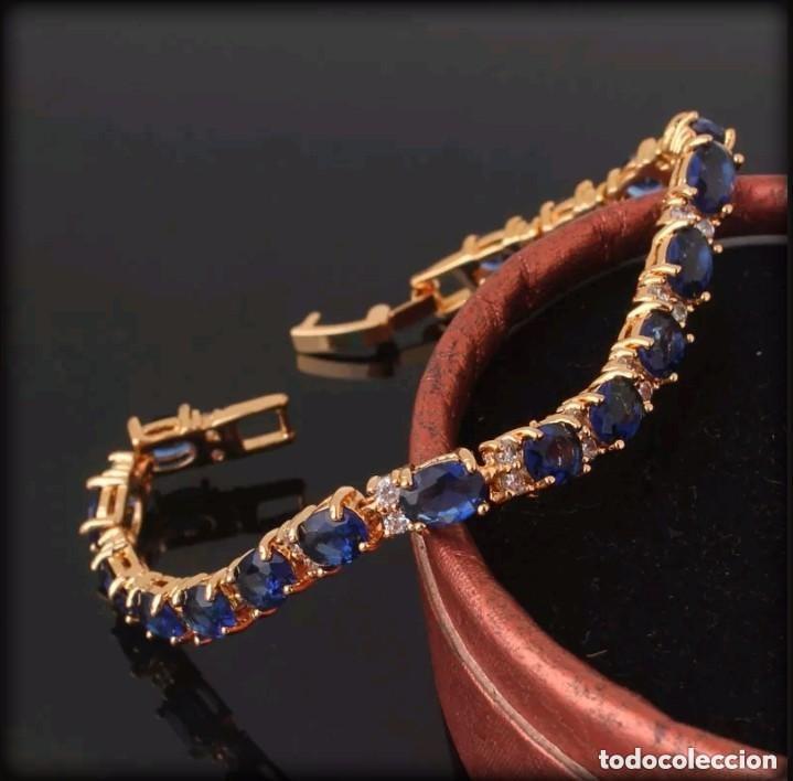 Joyeria: Elegante pulsera vintage de oro laminado de 24 quilates y zafiros azules - Foto 2 - 208348471