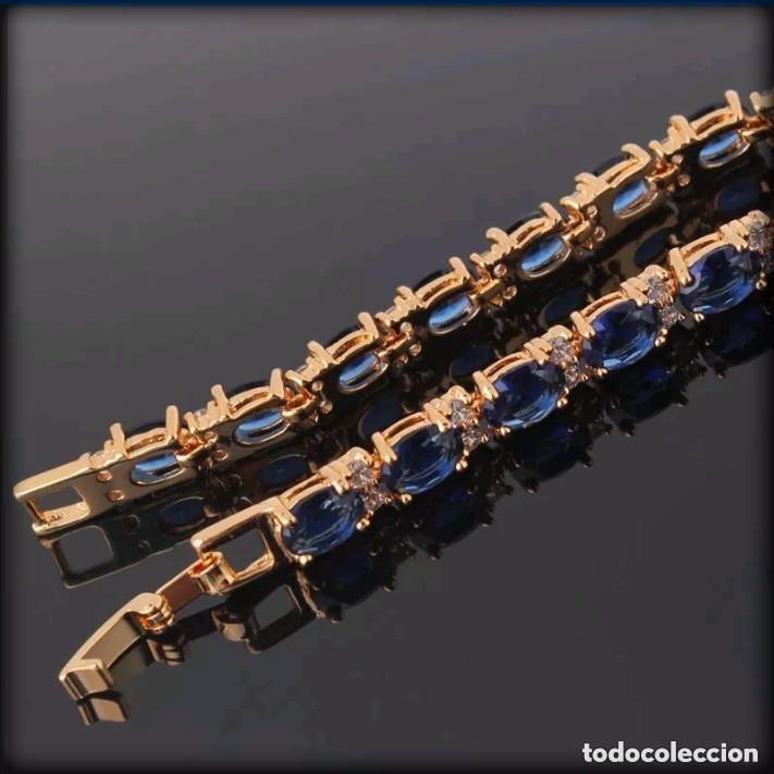 Joyeria: Elegante pulsera vintage de oro laminado de 24 quilates y zafiros azules - Foto 4 - 208348471