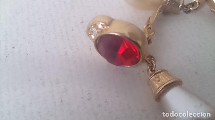 Joyeria: Pendientes metal. Perla y piedra roja m35 - Foto 2 - 190895815