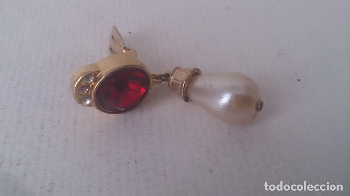 Joyeria: Pendientes metal. Perla y piedra roja m35 - Foto 6 - 190895815