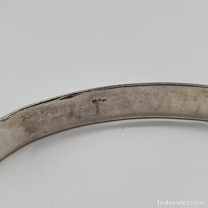 Joyeria: Brazalete vintage en plata de ley contrastada con bella cenefa ondulada . - Foto 6 - 191739263